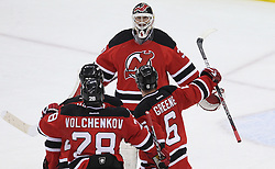 May 6, 2012; Newark, NJ, USA; The New Jersey Devils congratulate New Jersey Devils goalie Martin Brodeur (30) after game four of the 2012 Eastern Conference semifinals at the Prudential Center.  The Devils defeated the Flyers 4-2. Brodeur turned 40 years old today.