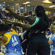 New York Liberty Center TALIA CALDWELL (6) pokes the ball away for Chicago Sky Forward BETNIJAH LANEY (44) in the first period of a WNBA preseason basketball game between the Chicago Sky and the New York Liberty Sunday, May. 01, 2016 at The Bob Carpenter Sports Convocation Center in Newark, DEL