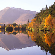 Autumn reflections of Ben Vair, Lochan Trail, Glencoe, west Highlands