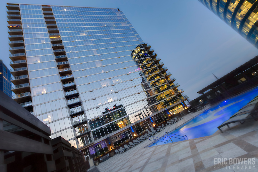 Pool at One Light Tower in downtown Kansas City. Developed by Cordish Company, designed by Humphreys and Partners Architects.