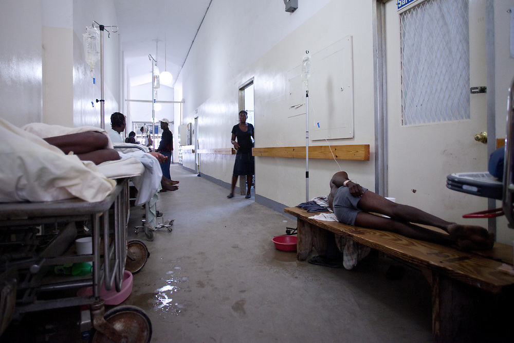 Cholera are treated. 194 people are dead and 2,364 are confirmed to have cholera in the Atibonite and Central departments in Haiti. There are unconfirmed reports of cases in and around Port Au Prince. The Artibonite river is thought to be the source of contamination. The strain of cholera in Haiti is the most deadly. Some victims have died within 3 or 4 hours of exhibiting symptoms.