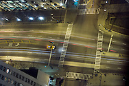 Looking down at the intersection of North Michigan Avenue and East Chestnut Street from the 94th floor of the John Hancock Building in downtown Chicago.