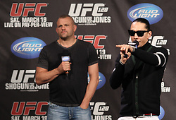 March 18, 2011; Newark, NJ; Former UFC Light Heavyweight Champion Chuck Liddell and the Black Eyed Peas Taboo speak to fans before the weigh-ins at UFC 128 in Newark, NJ.
