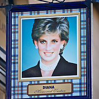 A shop sign on Edinburghs' Royal Mile promoting the Princess Diana memorial tartan