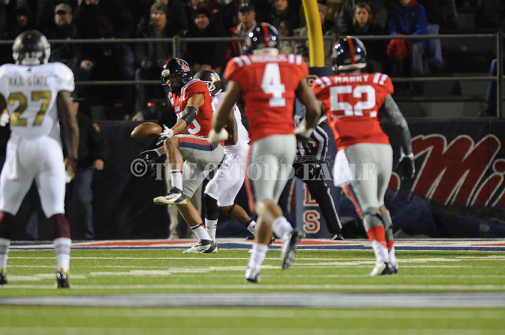 Ole Miss defensive back Cody Prewitt (25) breaks up a pass at Vaught Hemingway Stadium in Oxford, Miss. on Saturday, November 24, 2012. Ole Miss won 41-24.