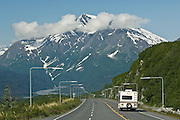 Motorhome travels the scenic Richardson Highway near Valdez in summer, Alaska.