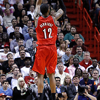 08 March 2011: Portland Trail Blazers power forward LaMarcus Aldridge (12) takes a jumpshot during the Portland Trail Blazers 00-00 victory over the Miami Heat at the AmericanAirlines Arena, Miami, Florida, USA.