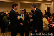 State senator Gray Tollison (left) and Geoffrey Yoste (center) and Tommy Reynolds at Chamber of Commerce Eggs and Issues at Oxford Conference Center on Monday, January 4, 2010