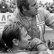 Formula 1: New Zealanders Bruce McLaren and Denny Hulme at Monaco Grand Prix, 1968.