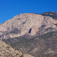 It's not quite Half Dome at Yosemite in California, but this face of the Sandia peak in ABQ gives a nice presentation just as that famous granite face in central CA does...