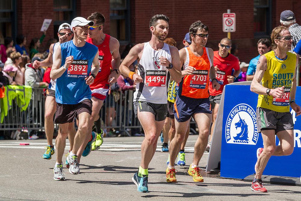 2014 Boston Marathon: runners heading for the finish line