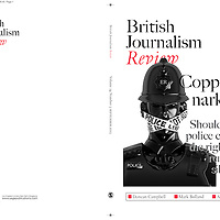 """Recent commission for British Journalism Review. Policeman with """"Police Line Do Not Cross"""" barrier tape over mouth."""