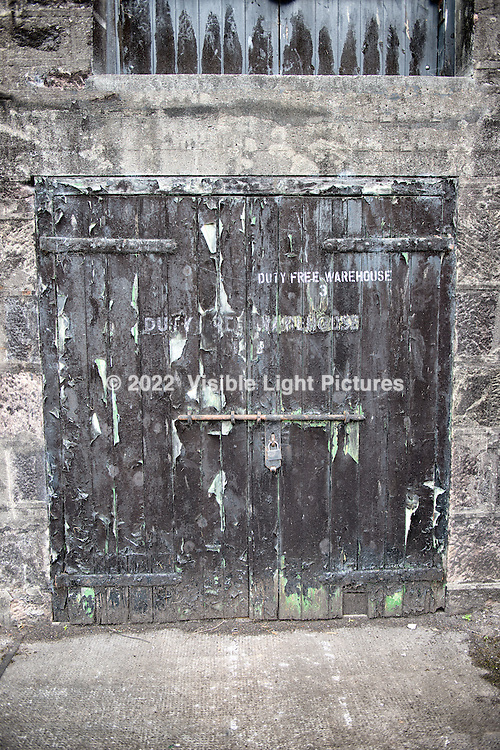 Warehouse door at a distillery in Scotland near Inverness