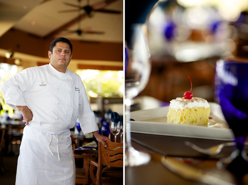 Marbin Guzman, Executive Chef at Bayside Bistro on Ft. Myers Beach, with his Tres Leches cake.