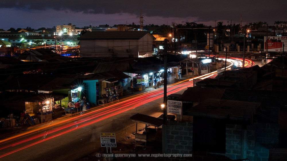 The main street through Avenor, a slum in Ghana's capital, Accra.