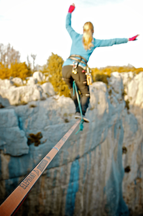 Highliner Tereza Panochova beautifuly sending the 18m highline, 200m high, rigged in the Sordidon sector of Verdon Gorges, France...©2012 Pedro Pimentel