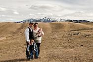Family, walking, foothills of Absaroka Mountains, southwest of Livingston, Montana, Reinke Family