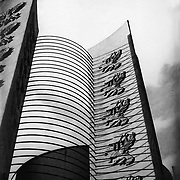 Black and white photo of British pavillion tower at British Empire  Exhibition. Taken on 120 film with a Zeiss SuperIkonta.