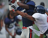 Ole Miss receiver Ja-Mes Logan (85) makes a catch as Marcus Temple defends during a scrimmage at Vaught-Hemingway Stadium in Oxford, Miss. on Saturday, August 13, 2011.