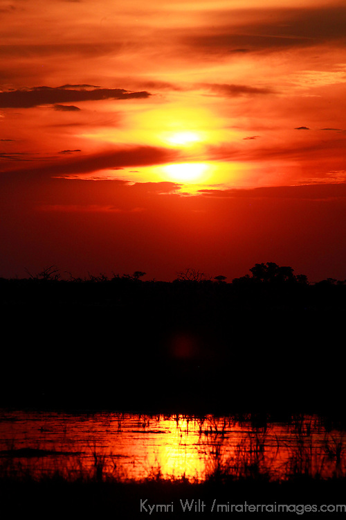 Africa, Botswana, Savute. Sunset at Savute, Chobe National Park.
