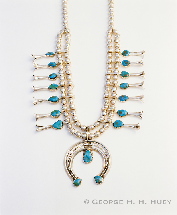0196-1020B ~ Copyright: George H. H. Huey ~ Contemporary Navajo silver and turquoise squash blossom necklace. Artist: Dorothy Small Canyon, Navajo Indian, 1998 New Mexico.