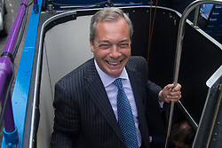 "Smith Square, Westminster, London, June 16th 2016. UKIP leader Nigel Farage launches his ""biggest ever"" advertising campaign as Leave and Remain enter their last week of campaigning before the EU referendum on June 23rd. PICTURED: Nigel Farage boards the UKIP battle bus."