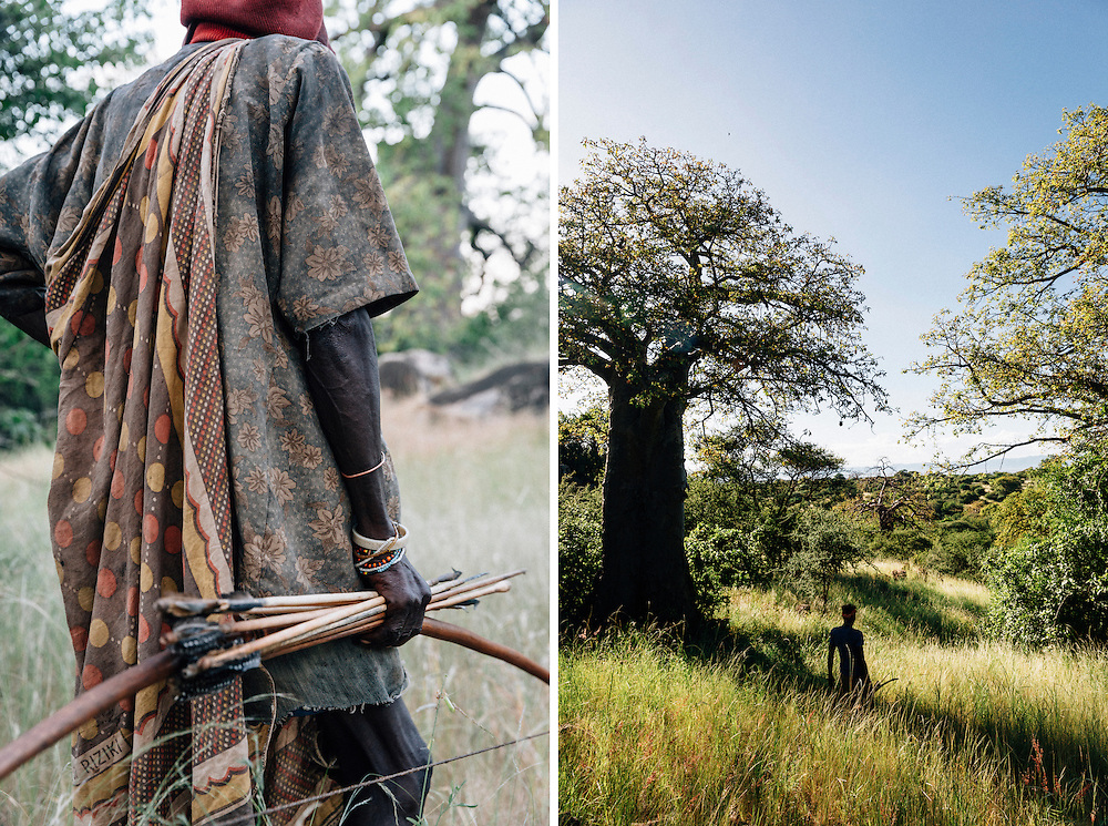 Piwa, a septuagenarian of the Hazda tribe,  out hunting in the Yaeda valley area in Northern Tanzania. Photo by Greg Funnell, March 2016.