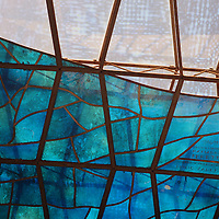 South America, Brazil, Brasilia. Deatil of stained glass windows in Brasília's Cathedral -Basilica of Our Lady Aparecida, designed by architect Oscar Neimeyer - a UNESCO World Heritage Site.