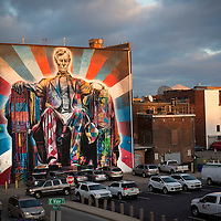 A mural of Abraham Lincoln by Eduardo Kobra located on the back wall of the Kentucky Theater, visible from Vine St. in Lexington, Ky., Thursday, December 3, 2015. (Photo by David Stephenson)