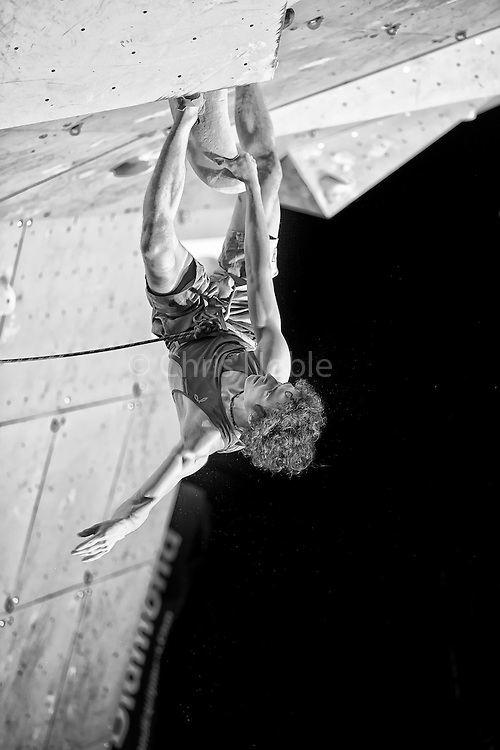 World Champion Adam Ondra, competes in the lead finals of the 2015 world cup climbing competition in Briancon France