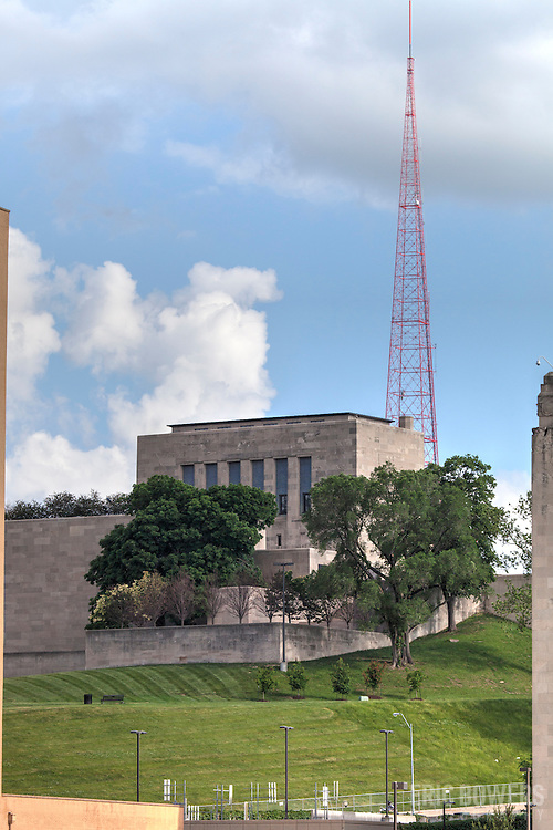A portion of Kansas City's Liberty Memorial with KCPT's television tower in background.