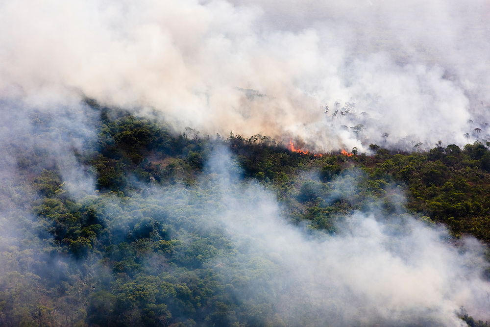 Man made fire to clear the rainforest between Novo Progresso and Altamira municipalities in Para, Brazil, August 10, 2008..Daniel Beltra/Greenpeace