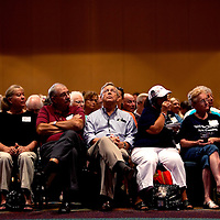ORLANDO, FL -- September 22, 2011 -- Supporters listen in to the Republican presidential candidate during the Florida P5 Faith and Freedom Coalition Kick-Off at the Rosen Centre Hotel in Orlando, Fla., on Thursday, September 22, 2011.  Nine Republican presidential candidates congregated for a Fox News / Google Debate.   (Chip Litherland for The New York Times)
