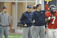 Head coach Hugh Freeze at Ole Miss football practice at the IPF in Oxford, Miss. on Wednesday, April 3, 2013.