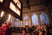Redmoon performers use shadow puppetry to illustrate the deadly sin, sloth, during the opening night of The Devil's Cabaret.