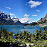 Saint Mary Lake in Glacier National Park near St. Mary, Montana  <br />