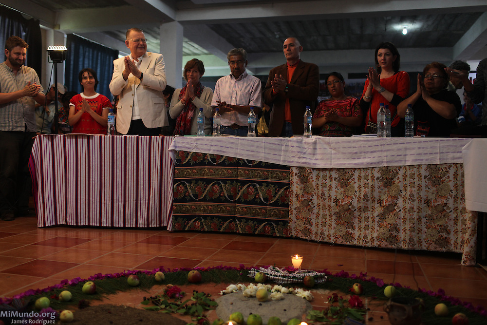 The Jury members at the Peoples' International Health Tribunal, San Miguel Ixtahuacán, Guatemala. July 14, 2012.