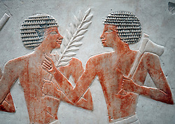 Detail of Fragments of reliefs of Egyptian soldiers and Nubian Mercenaries at Neues Museum or New Museum on Museum Island in Berlin