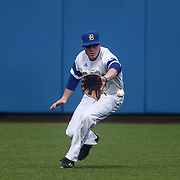 Delaware Outfielder Kevin Mohollen (1) attempts to field the ball in center field during a regular season baseball game between Delaware and Saint Joseph's at Bob Hannah Stadium Tuesday April 19, 2016, in Newark.
