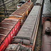 Retired rail cars at Steamtown, USA, National Park.