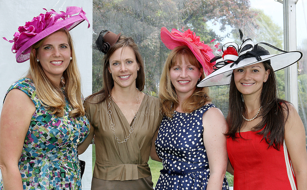 (Boston, MA - 5/15/13) Mary Jo Sisk of Chestnut Hill, left, Megan Woods of Brookline, Shannon Falkson of Chestnut Hill, and Fabiana Scanlan of Jamaica Plain attend the Party in the Park at the Kelleher Rose Garden to benefit the Justine Mee Liff Fund, Wednesday, May 15, 2013. Staff photo by Angela Rowlings.