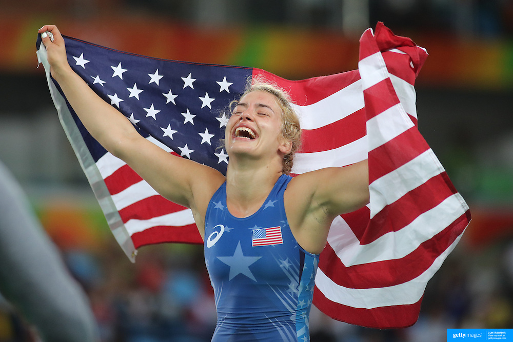 Wrestling - Olympics: Day 13   Helen Louise Maroulis of the United States winning the Gold Medal against Saori Yoshida of Japan in the Women's Freestyle 53 kg Finals match at the Carioca Arena 2 on August 18, 2016 in Rio de Janeiro, Brazil. (Photo by Tim Clayton/Corbis via Getty Images)