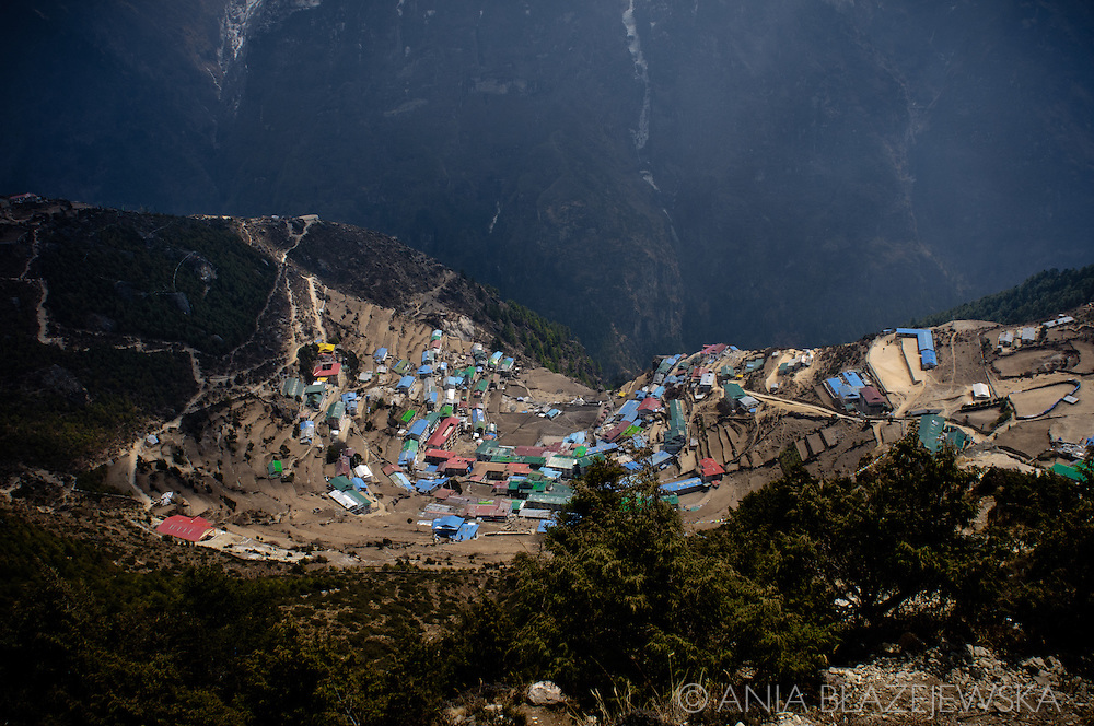 Nepal, Everest Region. View of Namche Bazaar, the Sherpa's capital.