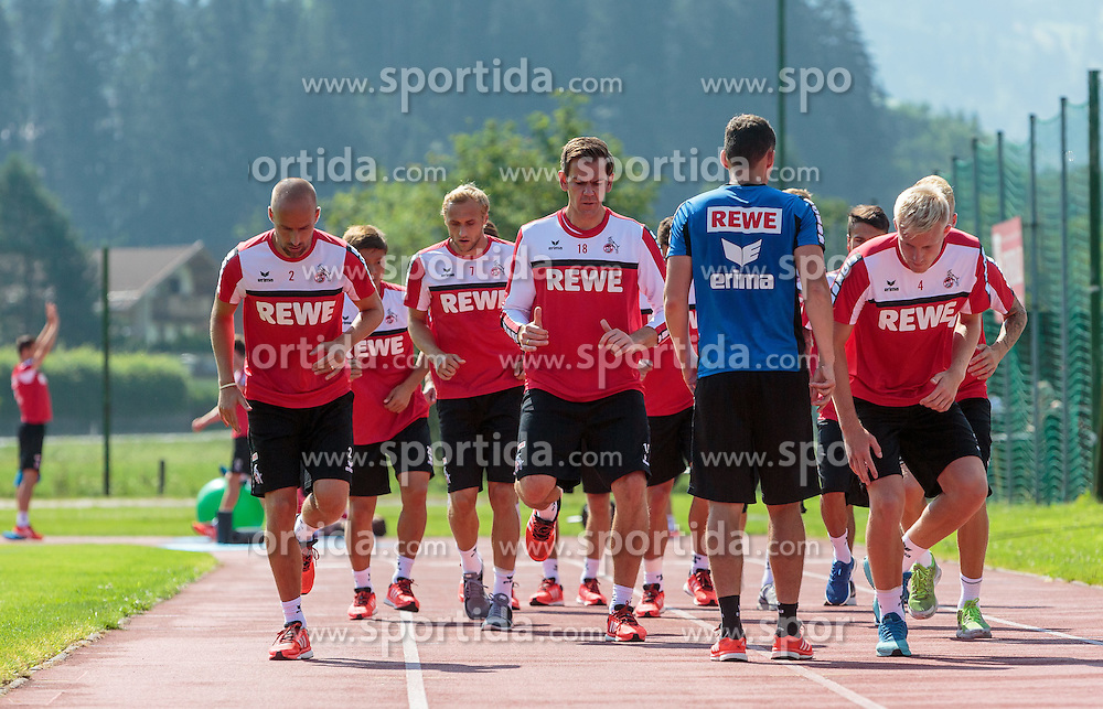 20.07.2015, Stadion Langau, Kitzbuehel, AUT, 1. FC Koeln, Trainingslager, im Bild v.l.: Miso Brecko (1. FC Koeln), Marcel Risse (1. FC Koeln), Thomas Kessler (1. FC Koeln), Frederik Soerensen (1. FC Koeln) // during the Trainingscamp of German Bundesliga Club 1. FC Colgone at the Stadium Langau in Kitzbuehel, Austria on 2015/07/20. EXPA Pictures © 2015, PhotoCredit: EXPA/ JFK