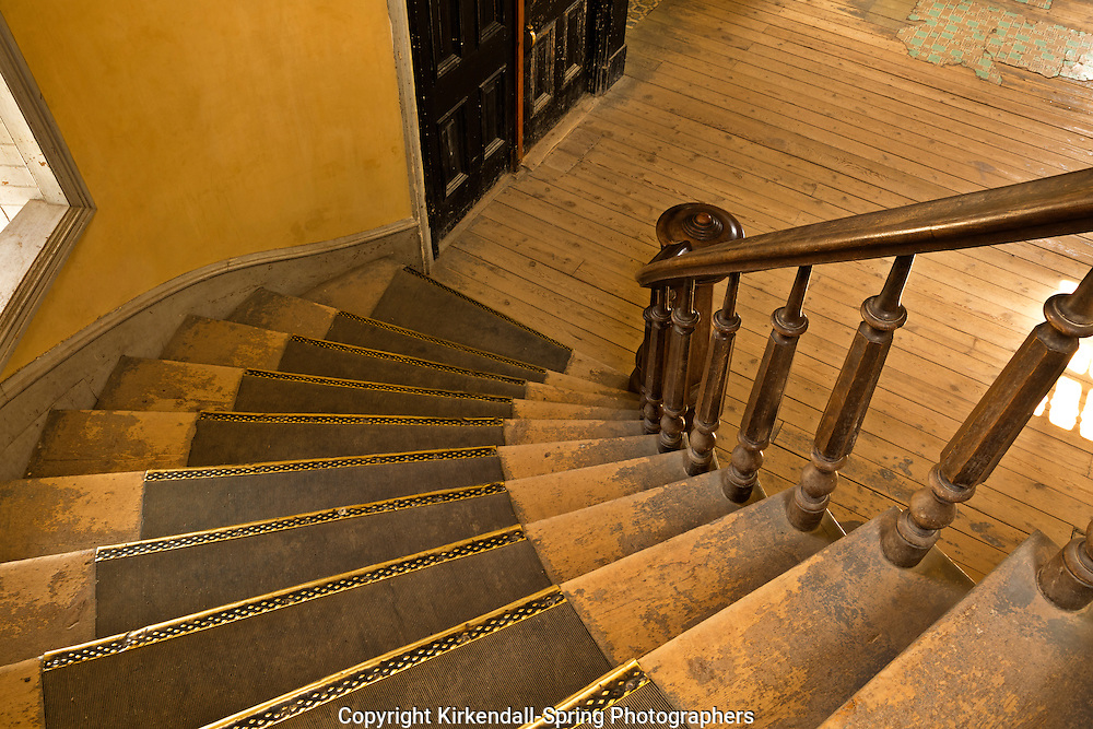 MT00051-00...MONTANA - Staircase at Hotel Meade in the historic ghost town of Bannack; now part of Bannack State Park.