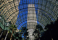 Looking up through Glass, Sky roof View, Manhattan, New York City, New York, USA, NY World Financial Center, Winter Garden, New York City, New York, glass atrium, Twin Towers, Twin Towers, World Trade Center, designed by Minoru Yamasaki, International Style II