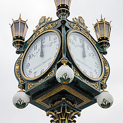 """A historic 1913 clock stands 15 feet high outside of the Museum of History and Industry (MOHAI), in the South Lake Union neighborhood of Seattle, Washington, USA. This clock was built by Joseph Mayer in 1913 and was installed in 1915 in front of Carroll's Jewelers at Fourth Avenue and Pike Street in Seattle. The clock was donated to MOHAI and installed in 2008. The mechanical clock required winding once a week until the innards were stolen over Christmas 2009. The clock face reads """"Carroll's Diamonds - Watches."""" MOHAI is the largest private heritage organization in the State of Washington."""