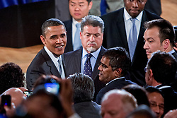 President Obama along the rope line at the Reagan Center Washington D.C.