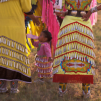 Baby and Brass Dancer, North American Indian days, Blackfeet Indian Reservation, Browning, Montana, USA