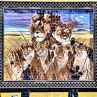 Lion Pride Mural on Goodwill Building near El Mercado in San Antonio, Texas<br /> Prior to 1970, the Lion Drugstore on West Commerce and Santa Rosa in San Antonio displayed a mural known as the &ldquo;Chapa Lion.&rdquo; In 2000, the Goodwill commissioned Jesse Treviňo to create the &ldquo;New Chapa Lion Mural.&rdquo; The painting includes a pride of lions. They represent the growing community near El Mercado. The people seen lifting the tile image into place represent the Goodwill&rsquo;s mission, &ldquo;To help change lives through the power of work.&rdquo;